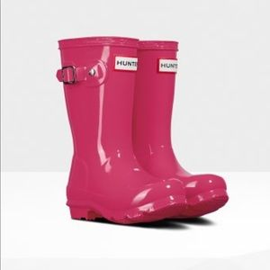 Hot pink kids hunter rain boots